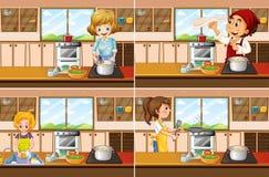 Quatro cenas da cozinha com cozimento do homem e da mulher ilustração stock