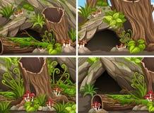 Quatro cenas da floresta com madeiras e caverna ilustração stock