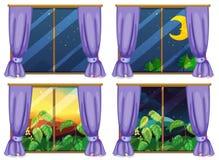 Quatro cenas da janela dia e noite ilustração do vetor