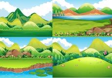 Quatro cenas do fundo com campo e o rio verdes Fotos de Stock