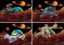 Quatro cenas do voo da nave espacial no espaço ilustração stock
