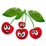 Quatro cerejas alegres nos galhos, desenhos animados em um fundo branco ilustração royalty free