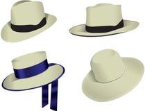 Quatro chapéus de Panamá Fotos de Stock Royalty Free