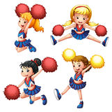 Quatro cheerdancers com seus pompoms Foto de Stock Royalty Free