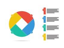Quatro coloridos tomaram partido vetor infographic da carta do diagrama da apresentação lisa do enigma do obturador Imagens de Stock