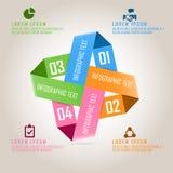 Quatro coloriram o infographics do negócio no projeto quadrado Imagem de Stock