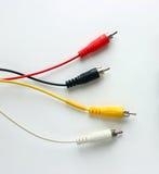 Quatro conectores video e audio análogos fotografia de stock royalty free