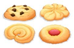 Quatro cookies diferentes dos sabores Imagem de Stock