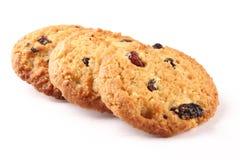 Quatro cookies secas cozidas friáveis dos frutos da farinha de aveia, Imagens de Stock