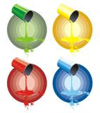 Quatro copos da pintura colorida Fotos de Stock