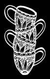 Quatro copos de café Ilustração do desenho da mão ilustração royalty free