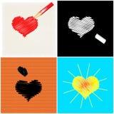 Quatro corações Imagem de Stock