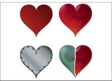 Quatro corações Fotografia de Stock Royalty Free