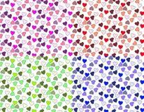 Quatro corações coloridos do teste padrão Imagens de Stock Royalty Free