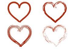 Quatro corações escovados vermelho Imagens de Stock