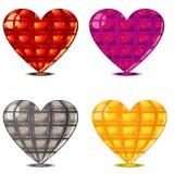 Quatro corações lapidados Fotografia de Stock