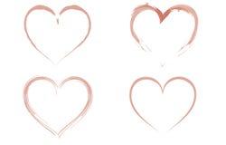 Quatro corações watercoloured Imagem de Stock