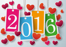 Quatro corações coloridos 2016 das etiquetas do preço Fotografia de Stock Royalty Free