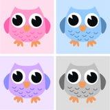 Quatro corujas bonitos Imagem de Stock