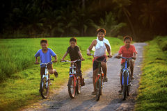 Quatro crianças com suas bicicletas Imagens de Stock Royalty Free