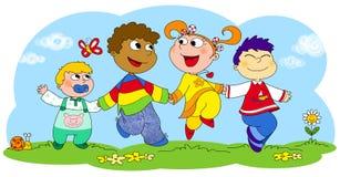 Quatro crianças felizes