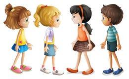 Quatro crianças que enfrentam-se ilustração stock