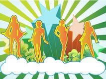 Quatro dançarinos do céu Fotografia de Stock Royalty Free