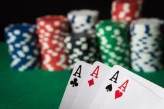 Quatro de áss de uma mão de pôquer do tipo imagem de stock