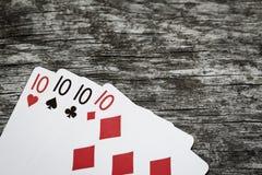Quatro dez cartões de jogo com copyspace Fotografia de Stock
