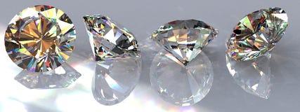 Quatro diamantes desobstruídos Fotografia de Stock