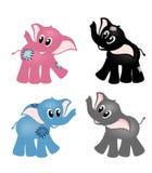 Quatro elefantes bonitos Imagem de Stock