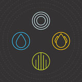 Quatro elementos Ícones dos quatro elementos Vector a água, o ar, a terra e o fogo de Logo Templates Foto de Stock Royalty Free