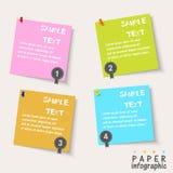 Quatro elementos de papel do gráfico da informação do fluxograma Ilustração Stock
