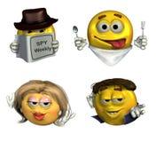 Quatro Emoticons 3D - com trajeto de grampeamento Fotos de Stock Royalty Free