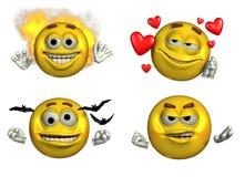 Quatro Emoticons-5 - com trajeto de grampeamento Imagem de Stock Royalty Free