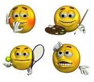 Quatro Emoticons - 7 ilustração stock