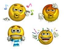 Quatro Emoticons - com trajeto de grampeamento Imagens de Stock Royalty Free