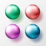 Quatro esferas ou bolas transparentes realísticas em máscaras diferentes de metálico cor gteen, do vermelho, a cor-de-rosa e a az ilustração stock