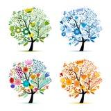 Quatro estações, árvore colorida floral Esboço para seu projeto ilustração royalty free