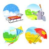 Quatro estações e objetos sazonais ilustração stock