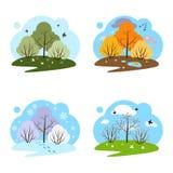 Quatro estações Quatro ilustrações em um fundo branco ilustração stock