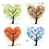 Quatro estações. Forma do coração da árvore da arte Foto de Stock Royalty Free