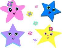 Quatro estrelas e flores Foto de Stock