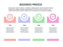 Quatro etapa PowerPoint e molde infographic ilustração stock