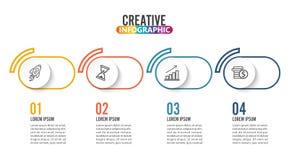 Quatro etapas infographic podem ilustrar uma estratégia, uns trabalhos ou um trabalho da equipe Imagens de Stock
