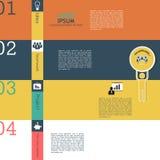 Quatro etapas para opções do infographics. Quatro bandeiras numeradas Imagem de Stock