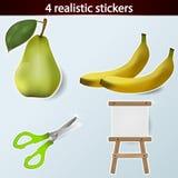 Quatro etiquetas realísticas Fotografia de Stock