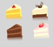Quatro fatias de bolo Imagens de Stock