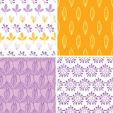 Quatro folhas amarelas roxas cor-de-rosa abstratas dos povos Imagens de Stock