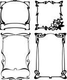 Quatro frames preto e branco do art deco. Imagens de Stock